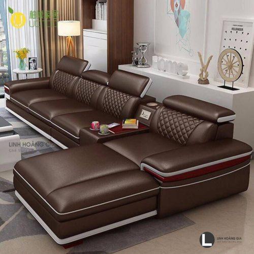 Sofa da phòng khách lớn L60